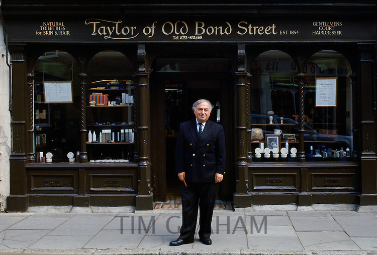 Hairdressers and toiletries shop in Eton town provides service for pupils of Eton College public school, England, UK