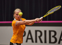 The Netherlands, Den Bosch, 16.04.2014. Fed Cup Netherlands-Japan, practice  Richel Hogenkamp (NED)<br /> Photo:Tennisimages/Henk Koster