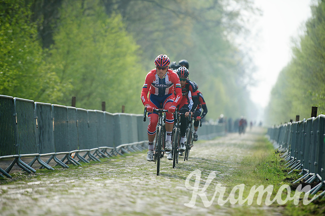 Thor Hushovd (NOR/BMC) leading out for his teammates through sector 18: Pavé de la Trouée d'Arenberg<br /> <br /> 2014 Paris-Roubaix reconnaissance