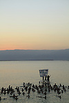 Israel, environmental activists demonstrating in the Dead Sea