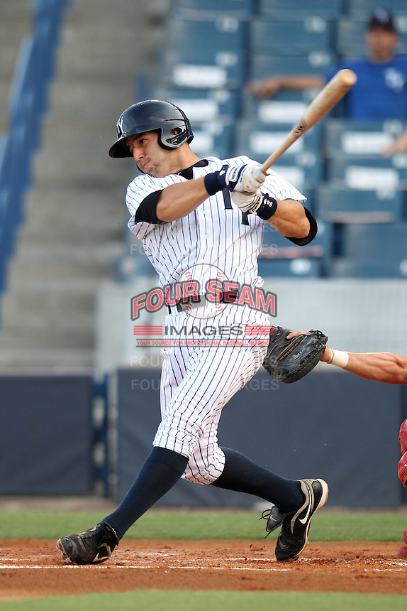 Tampa Yankees outfielder Rob Segedin #18 at bat during a game against the Clearwater Threshers at Steinbrenner Field on June 22, 2011 in Tampa, Florida.  The game was suspended due to rain in the 10th inning with a score of 2-2.  (Mike Janes/Four Seam Images)