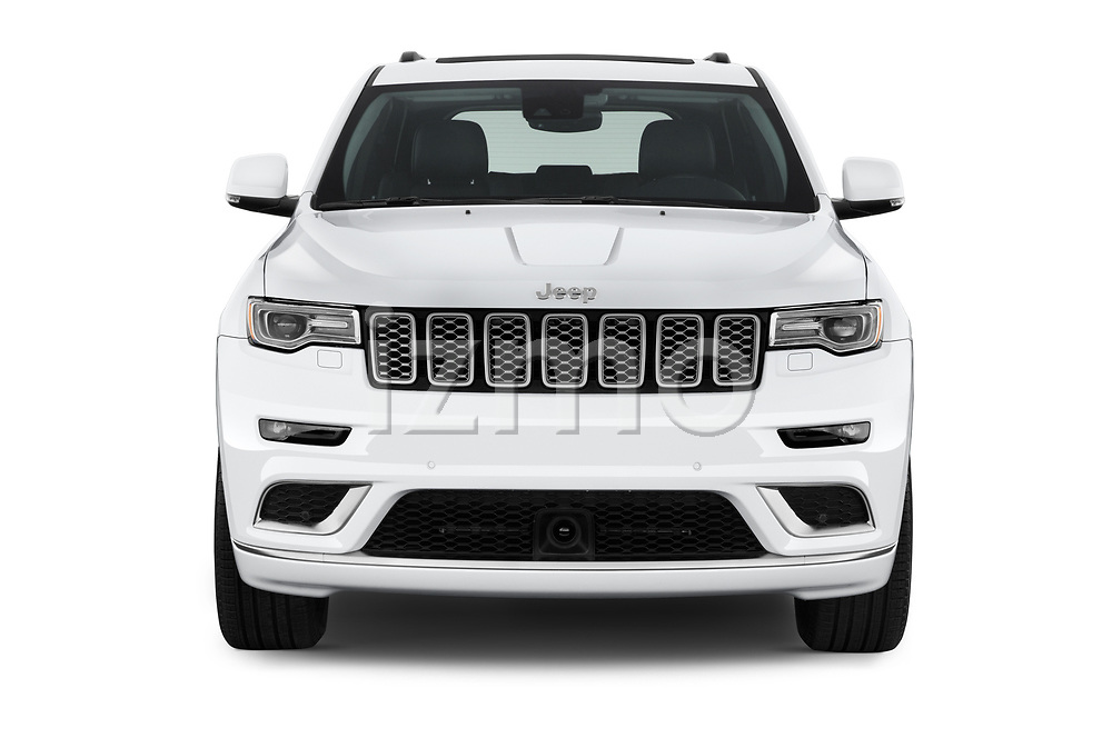 Car photography straight front view of a 2017 JEEP Grand-Cherokee Summit 5 Door SUV Front View
