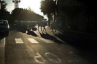 La mandria di bovini della famiglia Colantuono attraversa un paese lungo l'antico tratturo che dalla puglia porta alle montagne di Frosolone in Molise..The Colantuono family's herd walks toward a cooler climate.