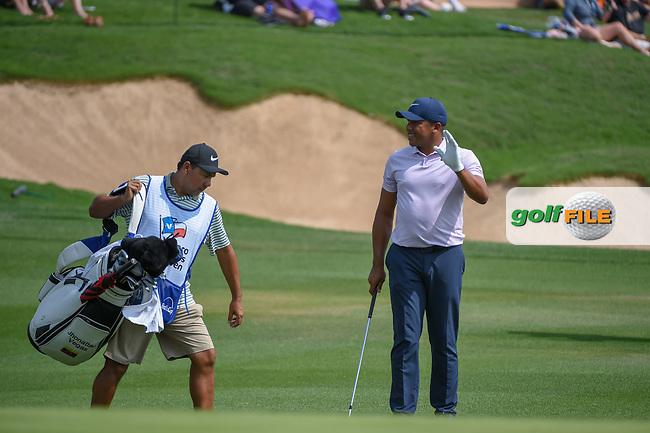 Jhonattan Vegas (VEN) after chipping up tight on 18 during day 3 of the Valero Texas Open, at the TPC San Antonio Oaks Course, San Antonio, Texas, USA. 4/6/2019.<br /> Picture: Golffile | Ken Murray<br /> <br /> <br /> All photo usage must carry mandatory copyright credit (© Golffile | Ken Murray)