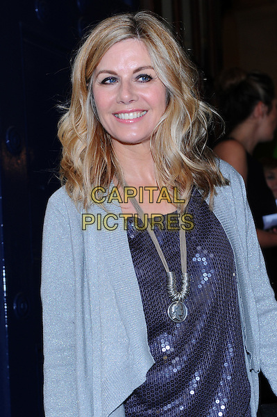 """Glynis Barber.Attends """"Shrek The Musical"""" - first anniversary performance, Theatre Royal Drury Lane, London, England..May 9th, 2012.half length blue top jacket necklace silver sequins sequined .CAP/CJ.©Chris Joseph/Capital Pictures."""