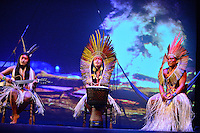 MIAMI, FL - SEPTEMBER 29: Wannu, KenewecÌ and Meu performs during the Journey to Mutum: A Cultural Encounter with the Yawanaw· Tribe of the Brazilian Amazon at Miami Theater Center on September 29, 2016 in Miami, Florida. Credit: MPI10 / MediaPunch