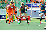 The Hague, Netherlands, June 14: During the field hockey gold medal match (Women) between Australia and The Netherlands on June 14, 2014 during the World Cup 2014 at Kyocera Stadium in The Hague, Netherlands. Final score 2-0 (2-0)  (Photo by Dirk Markgraf / www.265-images.com) *** Local caption *** Kim Lammers #23 of The Netherlands, Jodie Kenny #7 of Australia, Anna Flanagan #9 of Australia