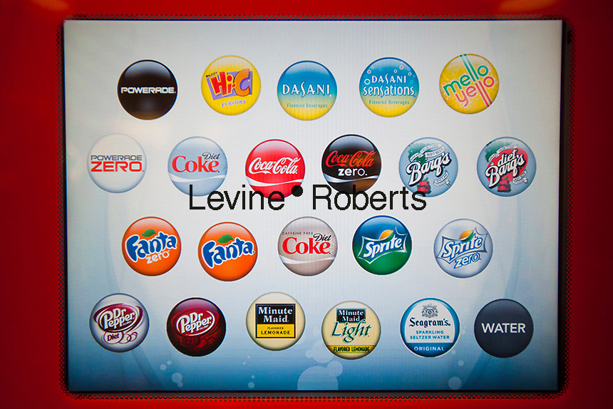 """Screen on self-service drink machine featuring Coca-Cola products at the new Steak 'n Shake Signature restaurant in New York on its grand opening day, Thursday, January 12, 2012. The popular midwest chain opened its first New York outpost with a new concept for the restaurant, a smaller footprint and counter-only service, hence their """"Signature"""" branding. Founded in 1934 the company has nearly 500 restaurants with this one in New York being next to the Ed Sullivan Theatre where the Late Show with David Letterman Show is taped. © Richard B. Levine)"""