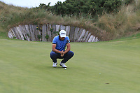 Robbie Cannon (Balbriggan) on the 7th green during the 1/4 Finals of the AIG Irish Close Championship at the European Club, Brittas Bay, Wicklow, Ireland on Monday 6th August 2018.<br /> Picture: Thos Caffrey / Golffile<br /> <br /> All photo usage must carry mandatory copyright credit (&copy; Golffile | Thos Caffrey)
