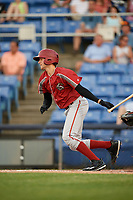 Altoona Curve starting pitcher Austin Coley (17) follows through on a swing during a game against the Binghamton Rumble Ponies on May 17, 2017 at NYSEG Stadium in Binghamton, New York.  Altoona defeated Binghamton 8-6.  (Mike Janes/Four Seam Images)