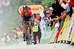 Dylan Teuns (BEL) Bahrain-Merida and Giulio Ciccone (ITA) Trek-Segafredo approach the finish line atop La Planche des Belles Filles at the end of Stage 6 of the 2019 Tour de France running 160.5km from Mulhouse to La Planche des Belles Filles, France. 11th July 2019.<br /> Picture: Serge Waldbillig | Cyclefile<br /> All photos usage must carry mandatory copyright credit (© Cyclefile | Serge Waldbillig)
