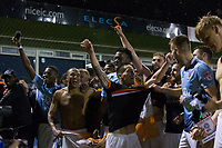 Blackpool players celebrate in front of their fans at full time<br /> <br /> Photographer Craig Mercer/CameraSport<br /> <br /> The EFL Sky Bet League Two Play-Off Semi Final Second Leg - Luton Town v Blackpool - Thursday 18th May 2017 - Kenilworth Road - Luton<br /> <br /> World Copyright &copy; 2017 CameraSport. All rights reserved. 43 Linden Ave. Countesthorpe. Leicester. England. LE8 5PG - Tel: +44 (0) 116 277 4147 - admin@camerasport.com - www.camerasport.com