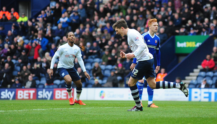 Preston North End&rsquo;s Adam Reach, right, celebrates scoring his sides first goal <br /> <br /> Photographer Chris Vaughan/CameraSport<br /> <br /> Football - The Football League Sky Bet Championship - Preston North End v Brentford - Saturday 23rd January 2016 -  Deepdale - Preston<br /> <br /> &copy; CameraSport - 43 Linden Ave. Countesthorpe. Leicester. England. LE8 5PG - Tel: +44 (0) 116 277 4147 - admin@camerasport.com - www.camerasport.com