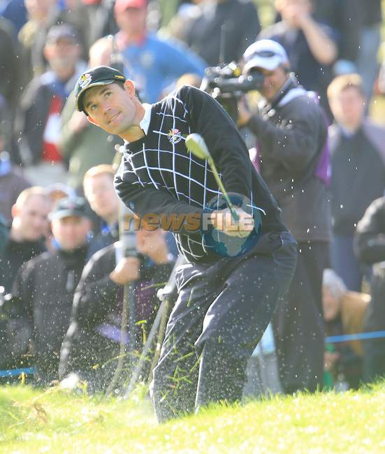 Padraig Harrington chips out of the rough at the 16th green in the Day 2 session of the overnight Fourball Match 4 during Day 1 of the The 2010 Ryder Cup at the Celtic Manor, Newport, Wales, 29th September 2010..(Picture Eoin Clarke/www.golffile.ie)