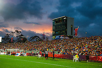 A general view of the FIFA Under-20 Football World Cup Final between Brazil (gold) and Serbia at North Harbour Stadium, Albany, New Zealand on Saturday, 20 June 2015. Photo: Dave Lintott / lintottphoto.co.nz