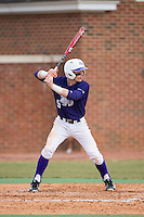 Chris Clare (9) of the High Point Panthers at bat against the UNCG Spartans at Willard Stadium on February 14, 2015 in High Point, North Carolina.  The Panthers defeated the Spartans 12-2.  (Brian Westerholt/Four Seam Images)