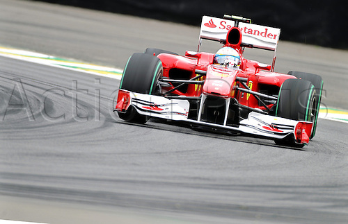 06.11.2010 Spanish driver Fernando Alonso of Ferrari drives his car along the race track during the second training session in Sao Paulo, Brazil, 05 November 2010. The Brazilian Grand Prix 2010 is held at the race track Autodromo Jose Carlos Pace in Interlagos, Sao Paulo