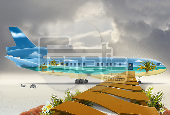 Wooden boardwalk leading towards airplane representing beach vacation