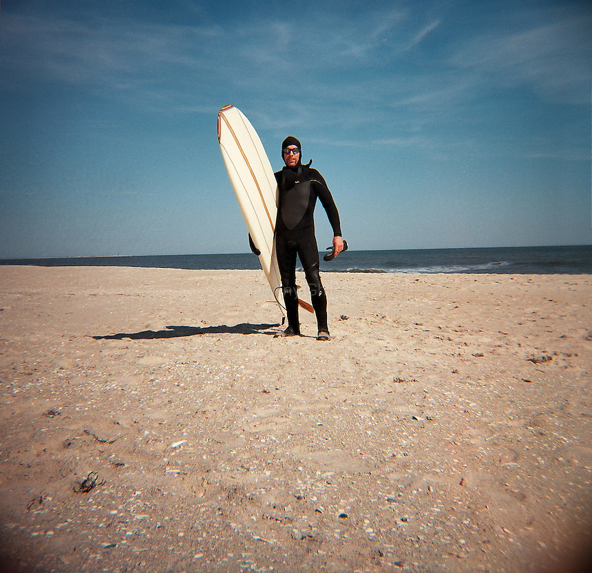Long Island Surfer with wet suit