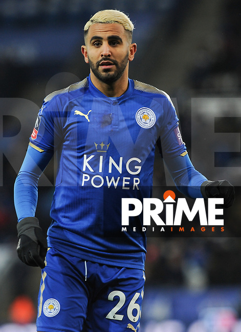 Riyad Mahrez of Leicester City during the FA Cup QF match between Leicester City and Chelsea at the King Power Stadium, Leicester, England on 18 March 2018. Photo by Stephen Buckley / PRiME Media Images.