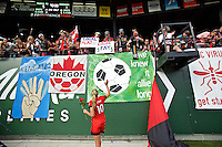 Portland, Oregon - Sunday September 4, 2016: Portland Thorns FC midfielder Allie Long (10) with supporters during a regular season National Women's Soccer League (NWSL) match at Providence Park.