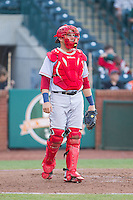 Hagerstown Suns catcher Spencer Kieboom (20) on defense against the Greensboro Grasshoppers at NewBridge Bank Park on May 20, 2014 in Greensboro, North Carolina.  The Grasshoppers defeated the Suns 5-4. (Brian Westerholt/Four Seam Images)