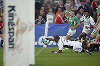 South African winger Vainon Willis reaches to score near the end of the first half of the Divbision A U19 Wiorld Champioship clash with Ireland at Ravenhill, Belfast.
