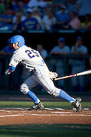 UCLA CF Beau Amaral doubles in Game Two of the NCAA Division One Men's College World Series Finals on June 29th, 2010 at Johnny Rosenblatt Stadium in Omaha, Nebraska.  (Photo by Andrew Woolley / Four Seam Images)