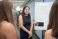 """Exploring the internal jungle of Costa Rican Chrysomelid beetles: Potential bacterial symbionts discovered"" by Camille Brzechffa<br /> (Mentor: Shana Goffredi, Biology)<br /> Occidental College's Undergraduate Research Center hosts their annual Summer Research Conference, Aug. 1, 2018. Student researchers presented their work as either oral or poster presentations at the final conference. The program lasts 10 weeks and involves independent research in all departments.<br /> (Photo by Marc Campos, Occidental College Photographer)"