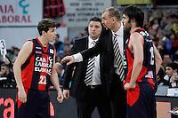 Caja Laboral Baskonia's coach Zan Tabak with Thomas Heurtel (l) and Fernando San Emeterio (r) during Spanish Basketball King's Cup semifinal match.February 07,2013. (ALTERPHOTOS/Acero)