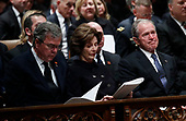 Former President George W. Bush, right, former first lady Laura Bush and former Florida Gov. Jeb Bush participate in a State Funeral for former President George H.W. Bush at the National Cathedral, Wednesday, Dec. 5, 2018, in Washington. <br /> Credit: Alex Brandon / Pool via CNP