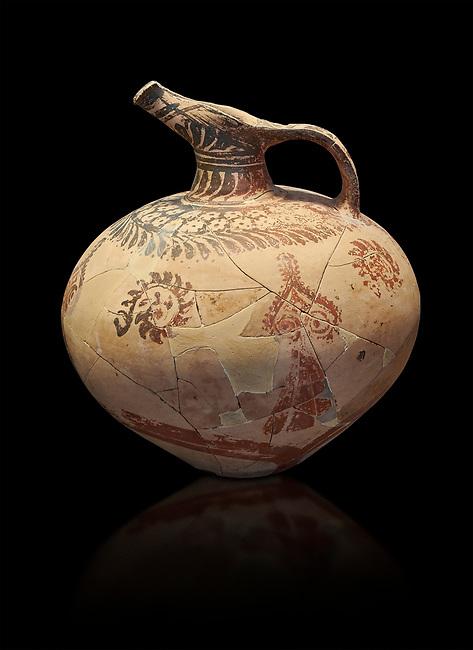Mycenaean clay jug with ornate decoration of vegetal motifs, Tholos tomb 2 , Myrsinochori, Messenia, 15th cent BC. National Archaeological Museum Athens. Cat No 8375. Black Background
