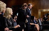UNITED STATES - SEPTEMBER 27: Judge Brett Kavanaugh and his wife Ashley Estes Kavanaugh arrive for the Senate Judiciary Committee hearing on his nomination be an associate justice of the Supreme Court of the United States, focusing on allegations of sexual assault by Kavanaugh against Christine Blasey Ford in the early 1980s. (Photo By Tom Williams/CQ Roll Call/POOL)