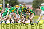 Tom Murnane and Colman Savage Kilmoyley in action against Mikey Boyle Ballyduff in the County Senior Hurling Final at Austin Stack Park on Sunday.
