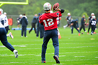 New England Patriots quarterback Tom Brady (12) throws a pass at the New England Patriots mini camp held on the practice field at Gillette Stadium, in Foxborough, Massachusetts. Eric Canha/CSM