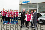 Paul Johnson of Car Zone and Adams Tralee who sponsored Jersey's and Bags for the the Causeway Senior Hurling Team accepting the Jerseys were Richard Keane (chairman and Mary Jo Murphy (secretary) Front l-r: Noel O'Connor (Adams),Mary Jo Murphy and Paul Johnson (Car Zone). Back were, Brian Cantillon,David Leahy,Tadhg Flynn,Colm Harty,Anthony Fealy, John Madden and Joseph Duggan