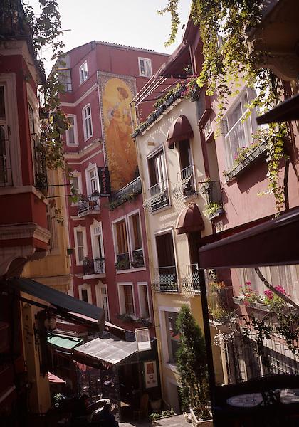 Restaurants line a narrow street in the Cukurcuma section of Istanbul, Turkey. © Kevin J. Miyazaki/Redux