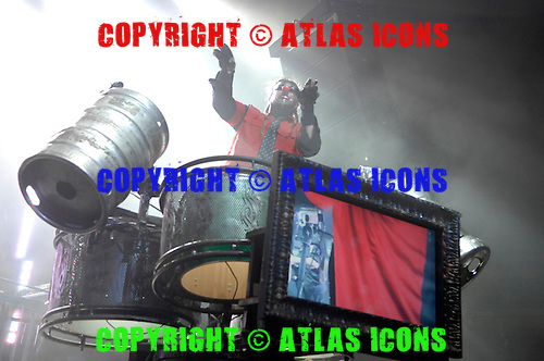 """Slipknot Performs on there All Hope Is Gone World Tour (2008–2009).(#6) Shawn """"Clown"""" Crahan – custom percussion, backing vocals..Photo Credit: Eddie Malluk/AtlasIcons.com"""