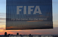 The FIFA flag is shown at sunset in the Loftus Versfeld Stadium. Italy defeated USA 3-1 during the FIFA Confederations Cup at Loftus Versfeld Stadium, in Tshwane/Pretoria South Africa on June 15, 2009.