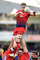 GJ van Velze of Worcester Warriors wins the ball at a lineout. Aviva Premiership match, between Bath Rugby and Worcester Warriors on October 7, 2017 at the Recreation Ground in Bath, England. Photo by: Patrick Khachfe / Onside Images