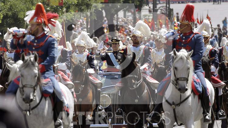 Coronation ceremony in Madrid. King Felipe VI of Spain and Queen Letizia of Spain leaving the Congreso de los Diputados. June 19 ,2014. (ALTERPHOTOS/EFE/Pool)