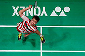 18th March 2018, Arena Birmingham, Birmingham, England; Yonex All England Open Badminton Championships; MarcusFernaldi Gideon (INA) and Kevin Sanjaya Sukamuljo (INA) in the mens singles  final against Mathias Boe (DEN) and Carsten Mogensen (DEN)