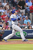 Chicago Cubs first baseman Anthony Rizzo (44) swings at a pitch during a game against the Atlanta Braves on July 18, 2015 in Atlanta, Georgia. The Cubs defeated the Braves 4-0. (Tony Farlow/Four Seam Images)