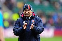 England Rugby Head Coach Eddie Jones looks on during the pre-match warm-up. RBS Six Nations match between England and Italy on February 26, 2017 at Twickenham Stadium in London, England. Photo by: Patrick Khachfe / Onside Images