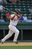 Third baseman Rafael Devers (13) of the Greenville Drive bats in a game against the Savannah Sand Gnats on Thursday, September 3, 2015, at Fluor Field at the West End in Greenville, South Carolina. (Tom Priddy/Four Seam Images)