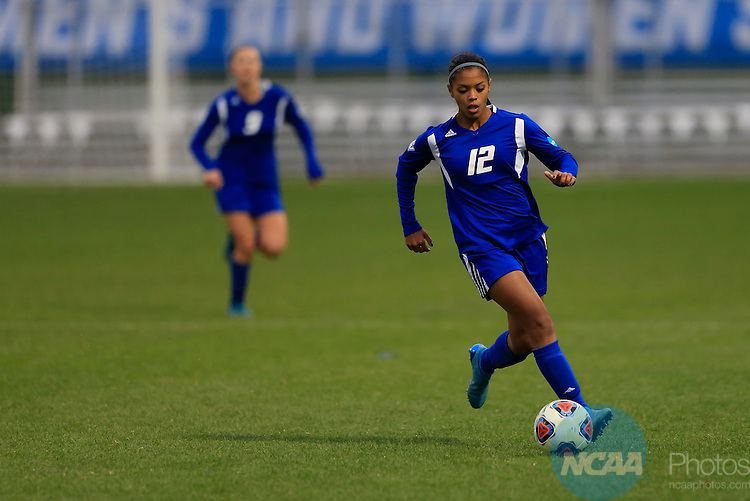 KANSAS CITY, MO - DECEMBER 03:  Jayma Martin (12) of Grand Valley State University tracks the ball against Western Washington University during the Division II Women's Soccer Championship held at Children's Mercy Victory Field at Swope Soccer Village on December 03, 2016 in Kansas City, Missouri. Western Washington University beat Grand Valley State University 3-2 to win the national title.  (Photo by Jack Dempsey/NCAA Photos via Getty Images)