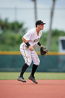 GCL Pirates shortstop Kyle Mottice (24) during the second game of a doubleheader against the GCL Yankees East on July 31, 2018 at Pirate City Complex in Bradenton, Florida.  GCL Pirates defeated GCL Yankees East 12-4.  (Mike Janes/Four Seam Images)