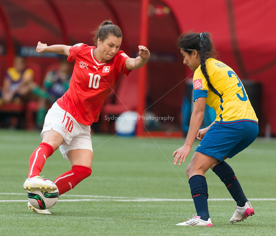 June 12, 2015: Ramona BACHMANN of Switzerland controls the ball during a Group C match at the FIFA Women's World Cup Canada 2015 between Switzerland and Ecuador at BC Place Stadium on 12 June 2015 in Vancouver, Canada. Switzerland won 10-1. Sydney Low/AsteriskImages