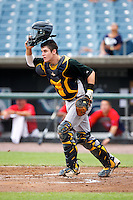 Chris Okey #21 of Eustis High School in Eustis, Florida playing for the Colorado Rockies scout team during the East Coast Pro Showcase at Alliance Bank Stadium on August 1, 2012 in Syracuse, New York.  (Mike Janes/Four Seam Images)