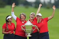 Lilia Vu, Team Captain Stasia Collins, Jennifer Kupcho and Kristen Gillman Team USA with the Espirito Santo Trophy after the final of the World Amateur Team Championships 2018, Carton House, Kildare, Ireland. 01/09/2018.<br /> Picture Fran Caffrey / Golffile.ie<br /> <br /> All photo usage must carry mandatory copyright credit (© Golffile | Fran Caffrey)